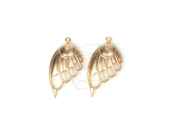 PDT-1167-MG/2PCS/Angel Wing Pendant/Matte Gold Plated Over Brass