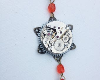 Clockwork flower steampunk necklace