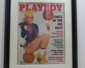 Vintage Playboy Magazine Cover Matted Framed : April 1989 - Erika Eleniak