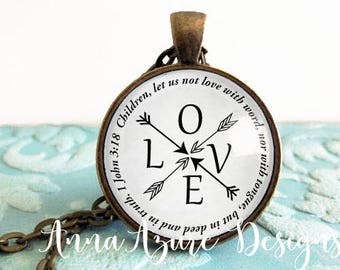 Children, let us not love with word, nor with tongue, but in deed and in truth. 1 John 3:18 Keychain key ring Pendant Necklace Jewelry