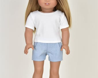 Basic Top short sleeve  Ivory 18 inch doll clothes