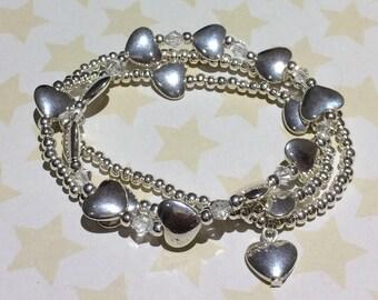 Heart stacking bracelets