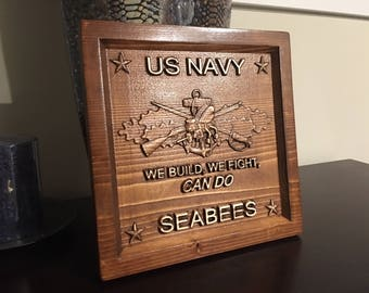 Wood Carved Navy Seabees  Plaque - Military Gift, Veteran Gift, Navy Seabee