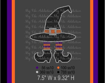 Instant Download Rhinestone SVG EPS Design File Halloween Witch Hat with Legs