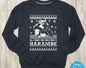 All I Want for Christmas is Harambe Sweater | RIP Harambe Sweatshirt