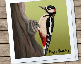 British Birds - Woodpecker & Kingfisher - Any Occasion Greetings Cards