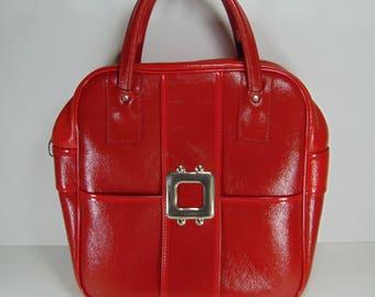 Vintage Shiny Fire Engine Red Travel Bag, Carry on Bag, Overnight Bag, Weekender Bag