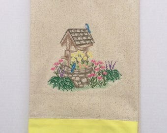 Hand Made Tea Towel, Kitchen Linens, Dish Cloths, Kitchen Towel, Wishing Well with wild Flowers