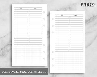 Personal Size Printable Day on One Page Schedule Timed Do1P Do1 Digital Download PR019