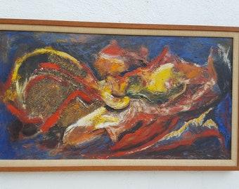 60's Impasto Expressionist  Painting .