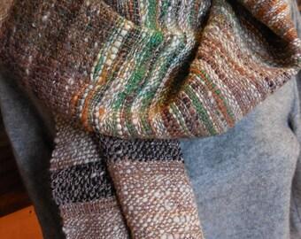 Handspun handwoven wool shawl