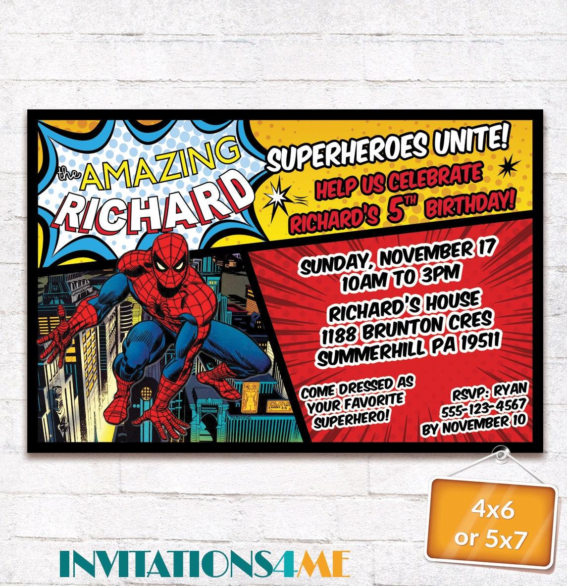 Spiderman Invitation The Amazing Spider-Man Superhero Birthday Party ...