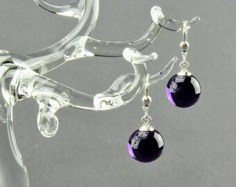 Earrings ball / Brisur 925/000 Silver rhodium plated, violet