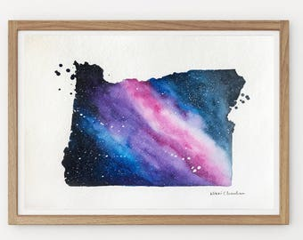 Oregon Map, State Map, Galaxy Painting, Printable art, Starry Sky, Watercolor Painting, Illustration Print, Modern art, Long Distance gift