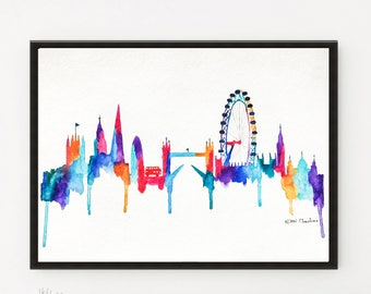 London Skyline, City art, Watercolor painting, Original  Travel Illustration, Print, Architecture Illustrator, Christmas Holiday gift