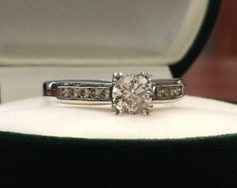 0.80ct Solitaire with Accents Diamond Engagement Ring in 18K White Gold