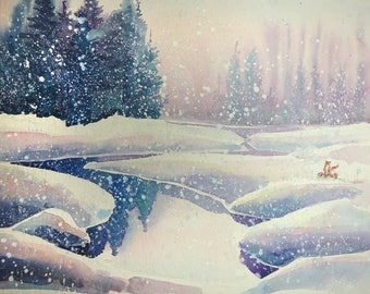 Watercolour painting of foxes in the snow by a river and trees