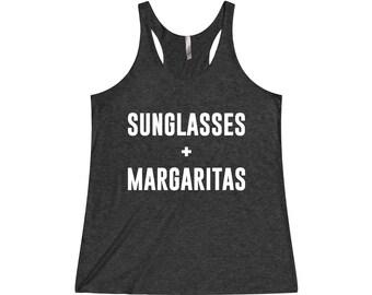 Sunglasses + Margaritas - Margarita Shirt, Drinking Shirt, Vacation Shirt, Margarita Tank Top, Beach Tank, Drinking Tank Top, Vacation Tank