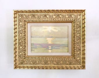 Sunrise at Sea Small Original Vintage Oil Painting Framed Signed