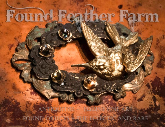 Architectural Bronze Finding with Hummingbird, Brass Patina and Topaz Jewels