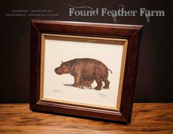 Vintage Framed Hippo Lithograph