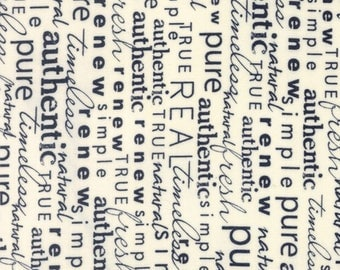 """Newsprint fabric-Moda Fabrics - """"Authentic Ect"""" by Sweetwater -One Yard Cut, Style 5675 12,words, writing, script, black, white, text fabric"""