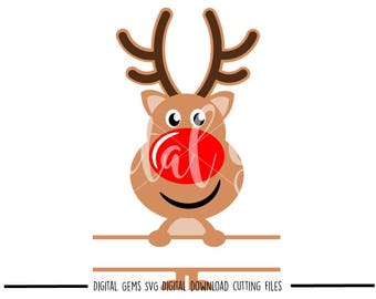 Reindeer split svg / dxf / eps / png files. Digital download. Compatible with Cricut and Silhouette machines. Small commercial use ok.