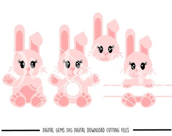 Bunny Rabbit, Easter svg / dxf / eps / png files. Compatible with Silhouette and Cricut. Digital Download. Small commercial use ok
