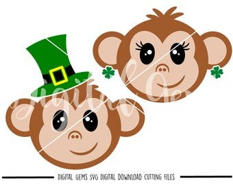 St Patrick's Day Monkey svg / dxf / eps / png files. Download. Compatible with Cricut and Silhouette machines. Small commercial use ok.