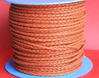 "MADE IN SPAIN  24"" of 3mm braided orange leather cord, braided leather cord, 3mm round braided  leather cord, (tr3nar)"