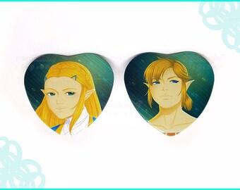 The Legend of Zelda Breath of the Wild Heart Pin Link and Zelda Pin Heart Legend of Zelda Couple