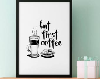 But First Coffee Poster, Iced Latte and Cookie, Illustrations, Typography, Home/Office Poster, Gift Idea, Wall Art Decor, Print Poster