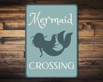 Mermaid Sign, Mermaid Decor, Mermaid Crossing Sign, Little Mermaid Gift, Mermaid Lover Gift, Mermaid Party Decor, Quality Metal ENS1002934