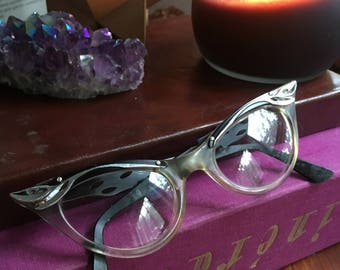 Cat Eye Glasses, Cat Eyeglasses, Vintage Eyewear, Bausch And Lomb, 50s Pin Up, Rockabilly, Retro Eyeglasses, Vintage Eyeglasses, Cat Eye