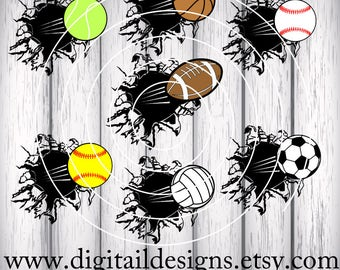 Blasting Sports Balls SVG - png - dxf - eps - ai - fcm - Baseball - Football - Basketball - Soccer - Volleyball - Sports bundle