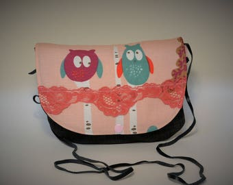 Available! Small purse / handbag / satchel / bag girl/owls/lace