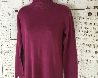 Soft Surroundings Top Blouse sweater Size 8 Cranberry Color Long Sleeve