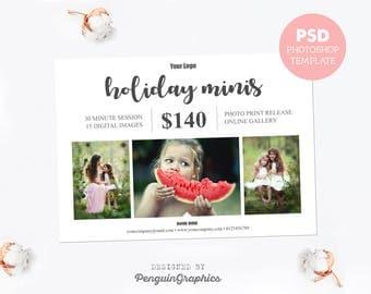 Mini session template. Marketing board photography template. Holiday photo mini session template. Fully editable Photoshop PSD file. MS012