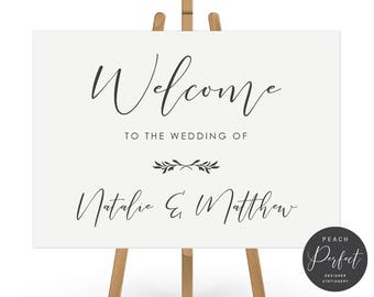 Wedding Welcome Sign, Modern Wedding Sign, Black and White, Free Colour Changes, DIY Printable We Print, Natalie Suite