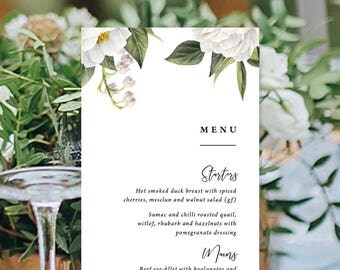 Wedding Menu, Custom Printable Menu, White Watercolour Flowers, Floral Menu, Corporate, DIY Wedding, Print Your Own, Mandy Suite
