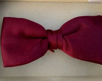 Vintage 1960's Ormond NYC Cranberry Red Clip On Bow Tie