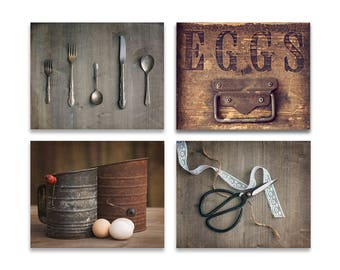 Rustic Kitchen Decor Set of 4 - Brown Kitchen Art, Rustic Kitchen Art, Farmhouse Kitchen Decor, Country Kitchen Art, Rustic Kitchen Canvases