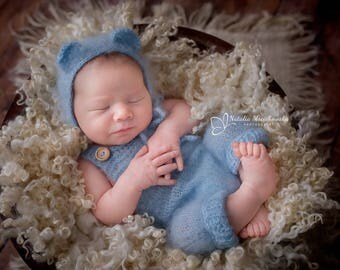 Newborn outfit,Newborn photo props, Newborn Teddy bear bonnet, Newborn pants,Newborn trousers, Romper ,Photography props, Mohair outfit,