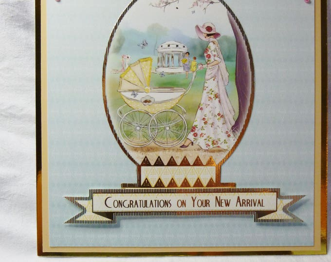 Art Deco, New Arrival Card, New Baby,  New Born, Greeting Card, Walk in the Park, Boy or Girl,