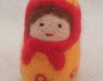 Waldolf inspired needle felted Russian doll
