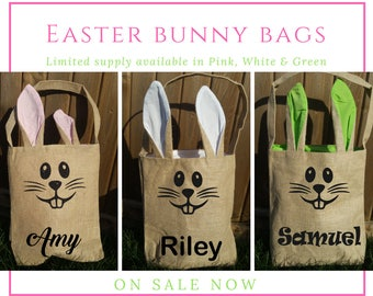 Easter Basket - Easter Bunny - Bunny Ears Bag - Easter Egg Hunt - Bunny Ears Basket - Easter Tote - Easter - Personalized Easter Gift