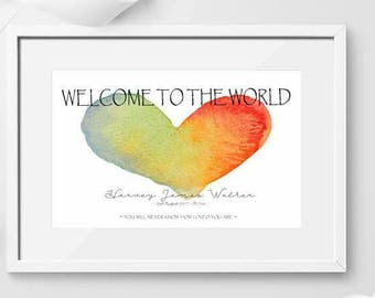 Welcome to the world Print / New Baby Print / Birth Print