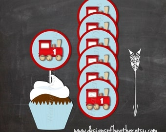 Red Train Digital Circles- Tags, Stickers, or Cupcake Toppers