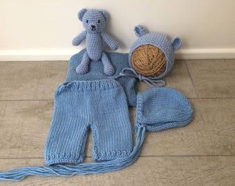 Newborn Set with bear blue