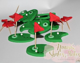 Golf Course Edible Cupcake Toppers